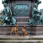 Dexter & Argos at the monument Friedrich Franz II